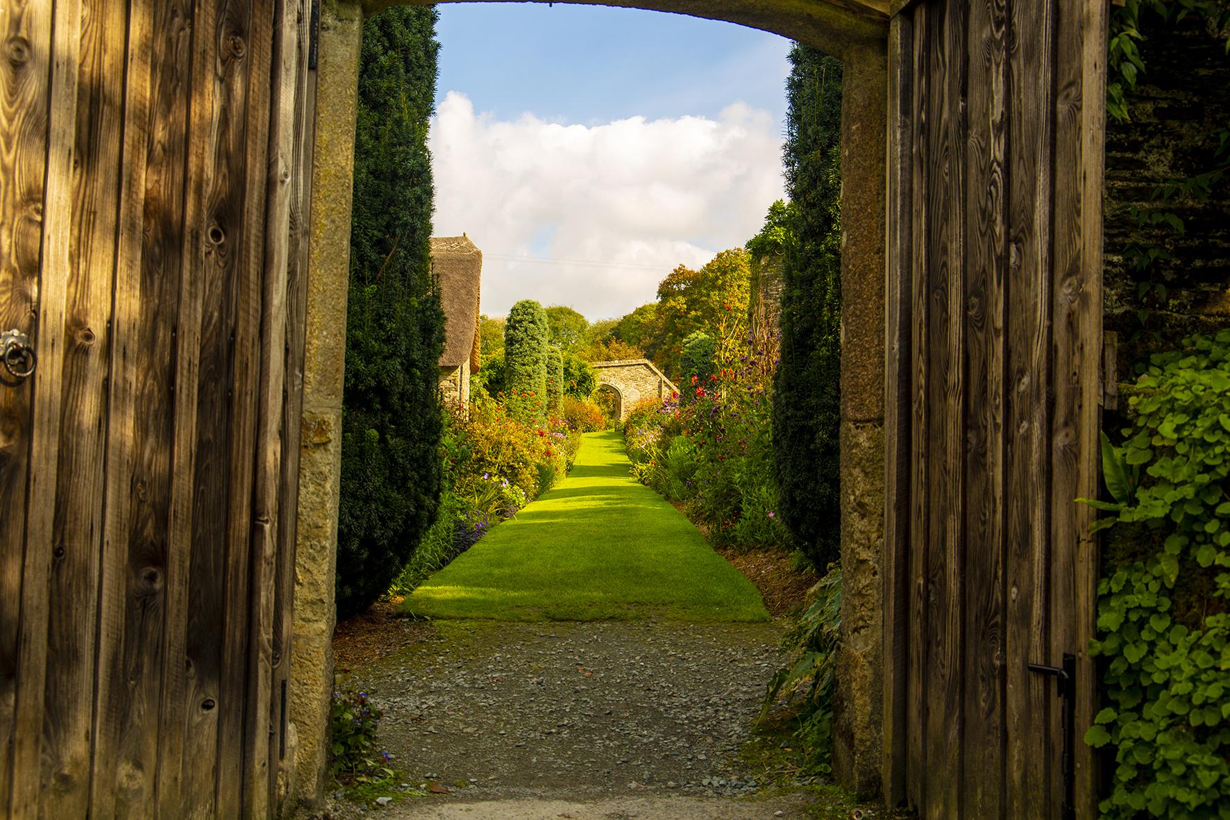 garden house autum walled garden entrance